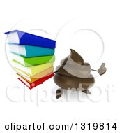 Clipart Of A 3d Milk Chocolate Or Poop Character Holding Up A Thumb And Stack Of Books Royalty Free Illustration by Julos