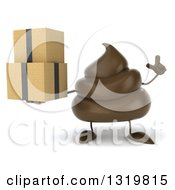 Clipart Of A 3d Milk Chocolate Or Poop Character Holding Up A Finger And Boxes Royalty Free Illustration by Julos