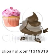 Clipart Of A 3d Milk Chocolate Or Poop Character Shrugging And Holding A Pink Frosted Cupcake Royalty Free Illustration by Julos