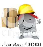 Clipart Of A 3d Happy White House Contractor Character Wearing A Hardhat Holding Up A Finger And Boxes Royalty Free Illustration