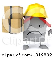 Clipart Of A 3d Unhappy White House Contractor Character Wearing A Hardhat Giving A Thumb Down And Holding Boxes Royalty Free Illustration