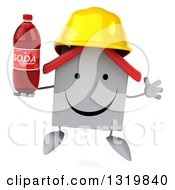 Clipart Of A 3d Happy White House Contractor Character Wearing A Hardhat Jumping And Holding A Soda Bottle Royalty Free Illustration
