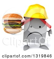 Clipart Of A 3d Unhappy White House Contractor Character Wearing A Hardhat Holding A Thumb Down And A Double Cheeseburger Royalty Free Illustration