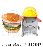 Clipart Of A 3d Unhappy White House Contractor Character Wearing A Hardhat And Holding Up A Double Cheeseburger Royalty Free Illustration