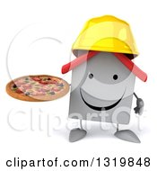 Clipart Of A 3d Happy White House Contractor Character Wearing A Hardhat And Holding A Pizza Royalty Free Illustration