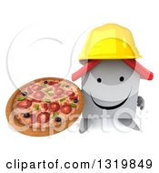 Clipart Of A 3d Happy White House Contractor Character Wearing A Hardhat And Holding Up A Pizza Royalty Free Illustration