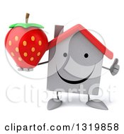 Clipart Of A 3d Happy White House Character Giving A Thumb Up And Holding A Strawberry Royalty Free Illustration