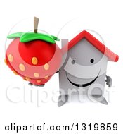 Clipart Of A 3d Happy White House Character Holding Up A Strawberry Royalty Free Illustration