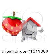 Clipart Of A 3d Happy White House Character Holding Up A Thumb And A Strawberry Royalty Free Illustration