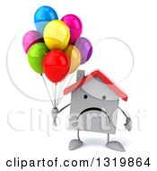 Clipart Of A 3d Unhappy White House Character Holding Party Balloons Royalty Free Illustration