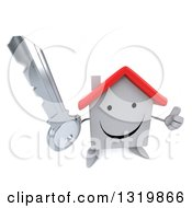 Clipart Of A 3d Happy White House Character Holding Up A Thumb And A Key Royalty Free Illustration