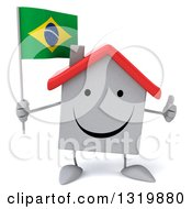 Clipart Of A 3d Happy White Home Character Giving A Thumb Up And Holding A Brazilian Flag Royalty Free Illustration