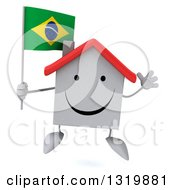 Clipart Of A 3d Happy White Home Character Jumping And Holding A Brazilian Flag Royalty Free Illustration