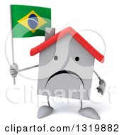 Clipart Of A 3d Unhappy White Home Character Holding A Brazilian Flag Royalty Free Illustration
