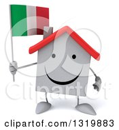 Clipart Of A 3d Happy White Home Character Holding An Italian Flag Royalty Free Illustration