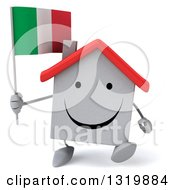 Clipart Of A 3d Happy White Home Character Walking And Holding An Italian Flag Royalty Free Illustration