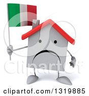 Clipart Of A 3d Unhappy White Home Character Holding An Italian Flag Royalty Free Illustration