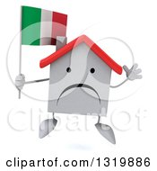 Clipart Of A 3d Unhappy White Home Character Jumping And Holding An Italian Flag Royalty Free Illustration