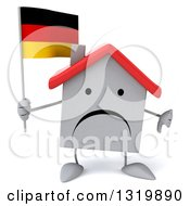 Clipart Of A 3d Unhappy White Home Character Holding A German Flag And Thumb Down Royalty Free Illustration