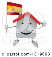 Clipart Of A 3d Happy White Home Character Jumping And Holding A Spanish Flag Royalty Free Illustration