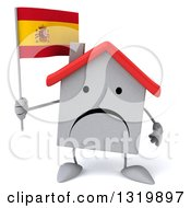 Clipart Of A 3d Unhappy White Home Character Holding A Spanish Flag Royalty Free Illustration