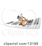 Orange Man Dancing And Walking On A Piano Keyboard Clipart Illustration by Leo Blanchette