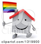 Clipart Of A 3d Happy White Home Character Walking And Holding A Rainbow Flag Royalty Free Illustration