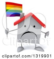 Clipart Of A 3d Unhappy White Home Character Holding A Thumb Down And A Rainbow Flag Royalty Free Illustration