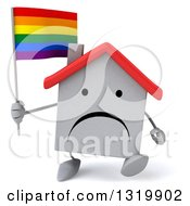 Clipart Of A 3d Unhappy White Home Character Walking And Holding A Rainbow Flag Royalty Free Illustration