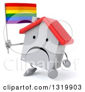 Clipart Of A 3d Unhappy White Home Character Walking Slightly Left And Holding A Rainbow Flag Royalty Free Illustration