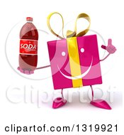 Clipart Of A 3d Happy Pink Gift Character Holding Up A Finger And Soda Bottle Royalty Free Illustration