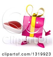 Clipart Of A 3d Happy Pink Gift Character Shrugging And Holding A Beef Steak Royalty Free Illustration