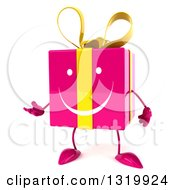 Clipart Of A 3d Happy Pink Gift Character Presenting To The Left Royalty Free Illustration