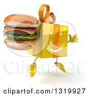 Clipart Of A 3d Happy Yellow Gift Character Facing Right Jumping And Holding A Double Cheeseburger Royalty Free Illustration