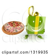 Clipart Of A 3d Happy Green Gift Character Holding Up A Pizza Royalty Free Illustration
