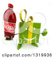 Clipart Of A 3d Happy Green Gift Character Holding Up A Thumb And A Soda Bottle Royalty Free Illustration