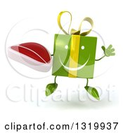Clipart Of A 3d Happy Green Gift Character Jumping And Holding A Beef Steak Royalty Free Illustration