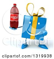 Clipart Of A 3d Happy Blue Gift Character Holding And Pointing To A Soda Bottle Royalty Free Illustration