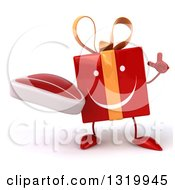 Clipart Of A 3d Happy Red Gift Character Holding Up A Finger And A Beef Steak Royalty Free Illustration