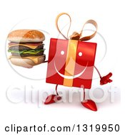 Clipart Of A 3d Happy Red Gift Character Shrugging And Holding A Double Cheeseburger Royalty Free Illustration by Julos