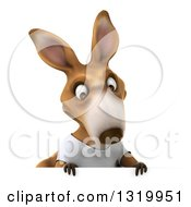 Clipart Of A 3d Casual Kangaroo Wearing A White Tee Shirt And Looking Down Over A Sign Royalty Free Illustration