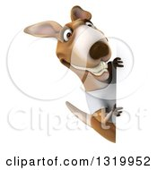 Clipart Of A 3d Casual Kangaroo Wearing A White Tee Shirt And Smiling Around A Sign Royalty Free Illustration