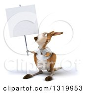 Clipart Of A 3d Casual Kangaroo Wearing A White Tee Shirt Holding And Pointing To A Blank Sign Royalty Free Illustration