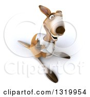 Clipart Of A 3d Casual Kangaroo Wearing A White Tee Shirt Holding Up A Thumb Royalty Free Illustration