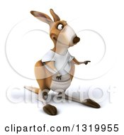 Clipart Of A 3d Casual Kangaroo Wearing A White Tee Shirt Pointing To The Right Royalty Free Illustration