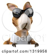 Clipart Of A 3d Casual Kangaroo Wearing A White Tee Shirt And Wearing Sunglasses Over A Sign Royalty Free Illustration