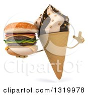Clipart Of A 3d Chocolate And Vanilla Swirl Waffle Ice Cream Cone Character Holding Up A Finger And A Double Cheeseburger Royalty Free Illustration
