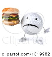 Clipart Of A 3d Unhappy Golf Ball Character Shrugging And Holding A Double Cheeseburger Royalty Free Illustration