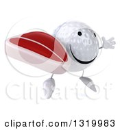 Clipart Of A 3d Happy Golf Ball Character Facing Right Jumping And Holding A Beef Steak Royalty Free Illustration