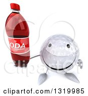 Clipart Of A 3d Happy Golf Ball Character Holding Up A Soda Bottle Royalty Free Illustration